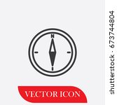 compass vector icon. flat...