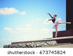 young woman in white tutu... | Shutterstock . vector #673745824
