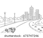street road graphic black white ... | Shutterstock .eps vector #673747246