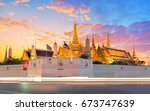grand palace and wat phra keaw... | Shutterstock . vector #673747639