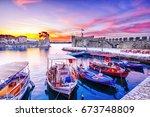 old greek port nafpaktos with... | Shutterstock . vector #673748809