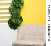 Small photo of Summer Yellow background, Summer interior, Summer concept
