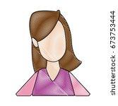 portrait woman young cartoon...   Shutterstock .eps vector #673753444