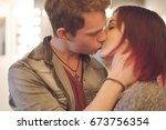 romantic couple touching and... | Shutterstock . vector #673756354
