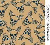 skull with bat ear seamless... | Shutterstock .eps vector #673758613