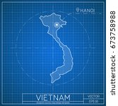vietnam blueprint map template... | Shutterstock .eps vector #673758988