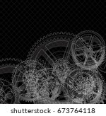 drawing gears on a black... | Shutterstock .eps vector #673764118