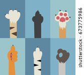 cat paw flat vector icon.... | Shutterstock .eps vector #673775986