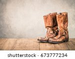 wild west old retro leather...   Shutterstock . vector #673777234
