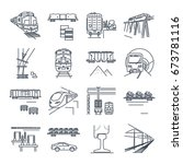 set of thin line icons freight... | Shutterstock .eps vector #673781116