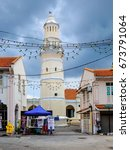 Small photo of Penang, Malaysia - April 24,2017: Masjid Lebuh Aceh, the 19th-century mosque built by the Acehnese situated at the UNESCO world heritage site of Georgetown, Penang, Malaysia.