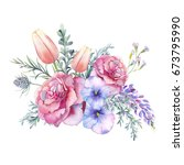 watercolor flowers bouquet.... | Shutterstock . vector #673795990