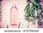 plastic bottle with tonic or... | Shutterstock . vector #673796563