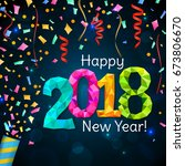 happy new year 2018 greeting... | Shutterstock .eps vector #673806670