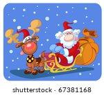 santa and reindeer in snow   Shutterstock .eps vector #67381168