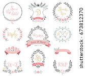 floral wreaths  monograms and... | Shutterstock .eps vector #673812370