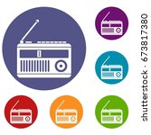 retro radio icons set in flat... | Shutterstock .eps vector #673817380