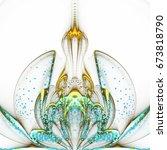 golden and light blue fractal...   Shutterstock . vector #673818790