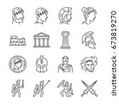 roman empire line icon set.... | Shutterstock .eps vector #673819270