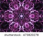dark glossy purple fractal... | Shutterstock . vector #673820278