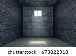 prison cell with light shining... | Shutterstock . vector #673822318