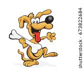 happy dog with tasty bone in... | Shutterstock .eps vector #673822684