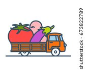 colorful truck with giant... | Shutterstock .eps vector #673822789