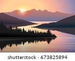 vector landscape with... | Shutterstock .eps vector #673825894