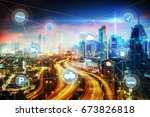 morden city and smart... | Shutterstock . vector #673826818