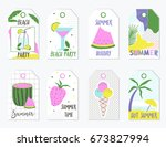 set of summer gift tags and... | Shutterstock .eps vector #673827994