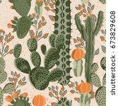Green Vector Succulent Cactus...
