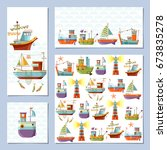 set of universal cards with... | Shutterstock .eps vector #673835278