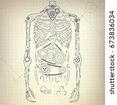 concept of blueprint of a.i.... | Shutterstock .eps vector #673836034