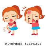 vector kid  girl character got... | Shutterstock .eps vector #673841578
