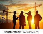 silhouette teams engineer... | Shutterstock . vector #673842874