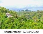 luxury villa house with... | Shutterstock . vector #673847020