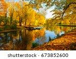 autumn in pavlovsk park... | Shutterstock . vector #673852600