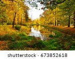 autumn in pavlovsk park... | Shutterstock . vector #673852618