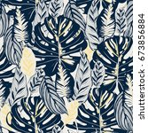 seamless pattern with tropical... | Shutterstock .eps vector #673856884