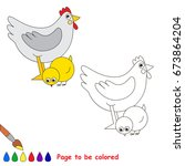 funny chicken and mother to be... | Shutterstock .eps vector #673864204