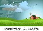 dramatic landscape with... | Shutterstock .eps vector #673866598