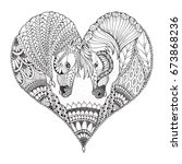 Stock vector two horses showing affection in a heart shape zentangle and stippled stylized vector illustration 673868236