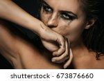 sad and beautiful woman with... | Shutterstock . vector #673876660