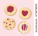 raspberry cookies vector | Shutterstock .eps vector #673878850