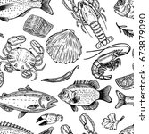 seafood hand drawn seamless... | Shutterstock . vector #673879090