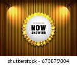 theater sign on curtain with... | Shutterstock .eps vector #673879804