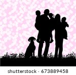 vector silhouette of a family... | Shutterstock .eps vector #673889458