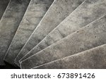 old curvilinear stairs. | Shutterstock . vector #673891426
