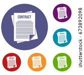 contract icons set in flat... | Shutterstock .eps vector #673892098