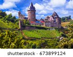 romantic rhine valley river... | Shutterstock . vector #673899124